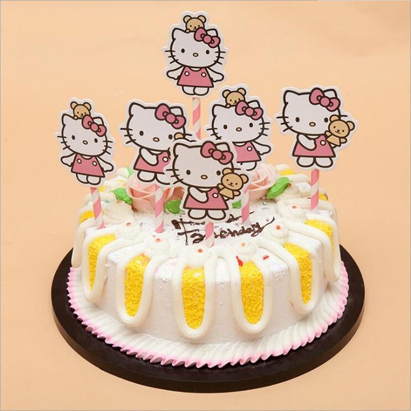 Fine 6Pcs Hello Kitty Cartoon Figure Diy Cupcake Toppers Birthday Cake Birthday Cards Printable Benkemecafe Filternl