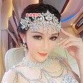 2015 nueva moda crystal rhinestone cabeza cadena nupcial celada de la boda de la tiara de la joyería al por mayor