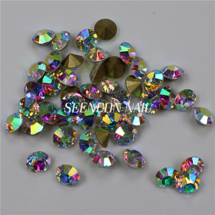 1440pcs lot Crystal AB Non Hotfix Round Pointed Back Rhinestones for Nails  3D Nail Art Sharp Decoration Glitter Crystal f9ec8a9a2eae