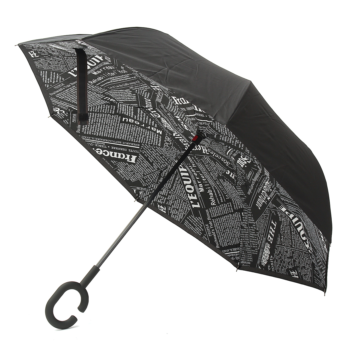 cedeefd0fff4 US $13.19 44% OFF|Waterproof UV Protection Handle Double Layer Long Upside  Down Reverse Umbrella Folding Reverse Inverted Rain Car For Women Anti-in  ...