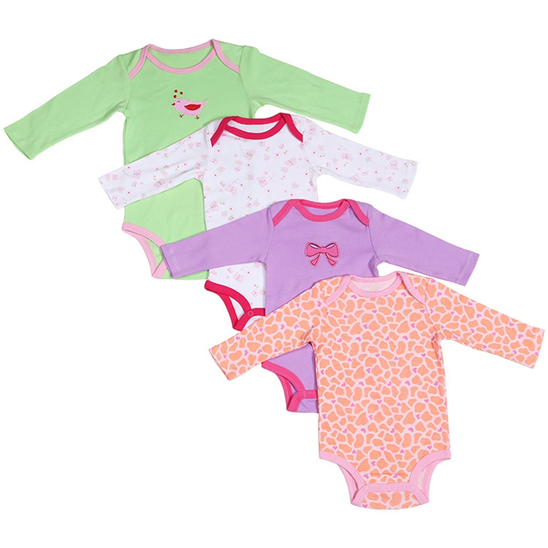 ФОТО 5 Pieces/lot Baby Romper Girl and Boy Full Sleeve Character Print Season Clothing Set for Newborn Next Jumpsuits & Rompers