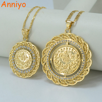 Arabic Coin Necklace Pendants For Women 18k Gold Plated Turkey Coins Jewelry Wholesale With 45cm 60cm