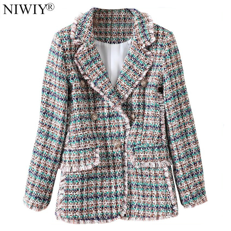 NIWIY Brand Elegant Tassel Tweed Suit Jacket  Abrigos Mujer Invierno 2019 Autumn Winter Long Sleeve Plaid Blazer Casacos N9379