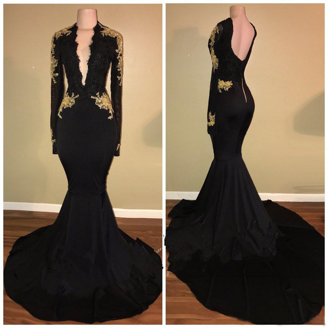 e272c006a0 Elegant Black Mermaid Evening Dress Gold Lace Elastic Satin Long Sleeve Prom  Gowns 2019 New Custom Made Women Party Dresses