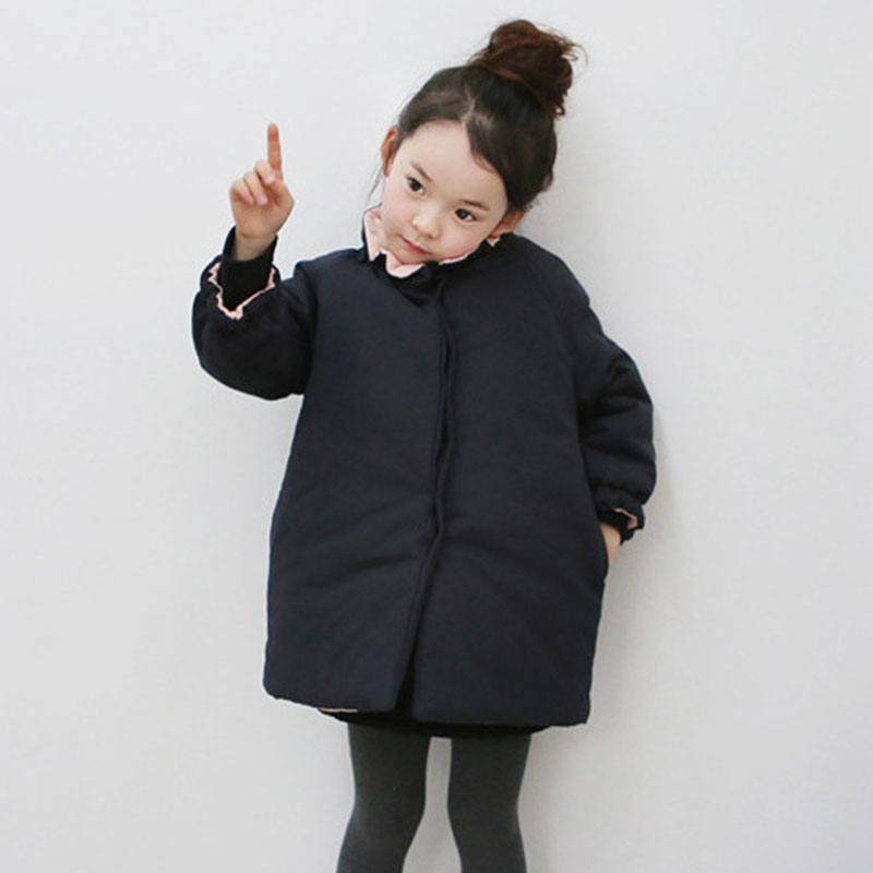 warm children's clothing winter jacket for girls thick black padded baby girls winter coat size 5 4 8 14 teenagers clothing цена