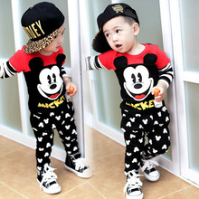 New 2016 Baby Boy Suit Cartoon autumn Winter Girl Sets Outwear Little Mouse Pattern Tops Sweatshirt +Pants Kids Children Set