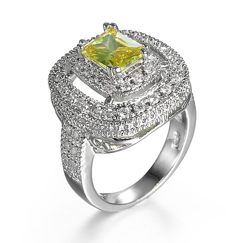 Rectangle Champagne Yellow Stone 925 Silver Rings For Women Wedding