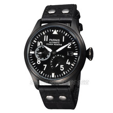 Free shipping Parnis 47mm Big Pilot PVD Case Power Reserve Automatic Men s Watch