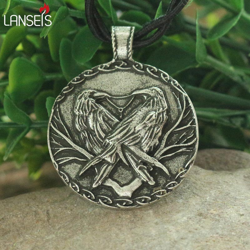 lanseis 1pcs ginn and Muninn,Thought and Memory Odin's crows pendant vking rave men necklace two black bird charm image