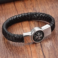 XANI Charm Bracelets For Men Stainless Steel Genuine Leather Bracelets For Women Ladies Bracelets Bangles Men