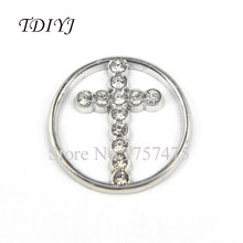 TDIYJ Fashion 22mm Alloy Floating Charm Crystal Cross Window Plate Silver for 30mm Floating Memory Locket Jewelry Pendants 10Pcs(China)