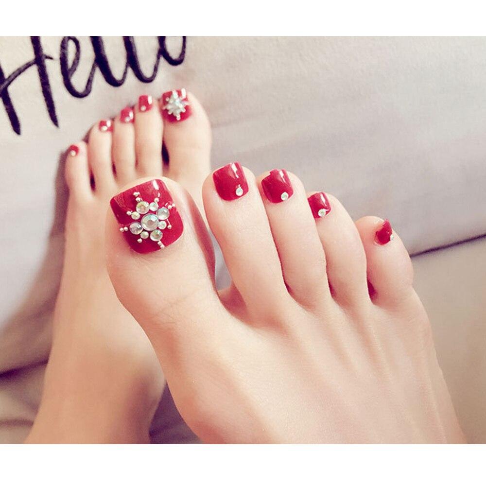 24pcs/Set Pretty Red Toe False Nails Square Head Rhinestones Full ...