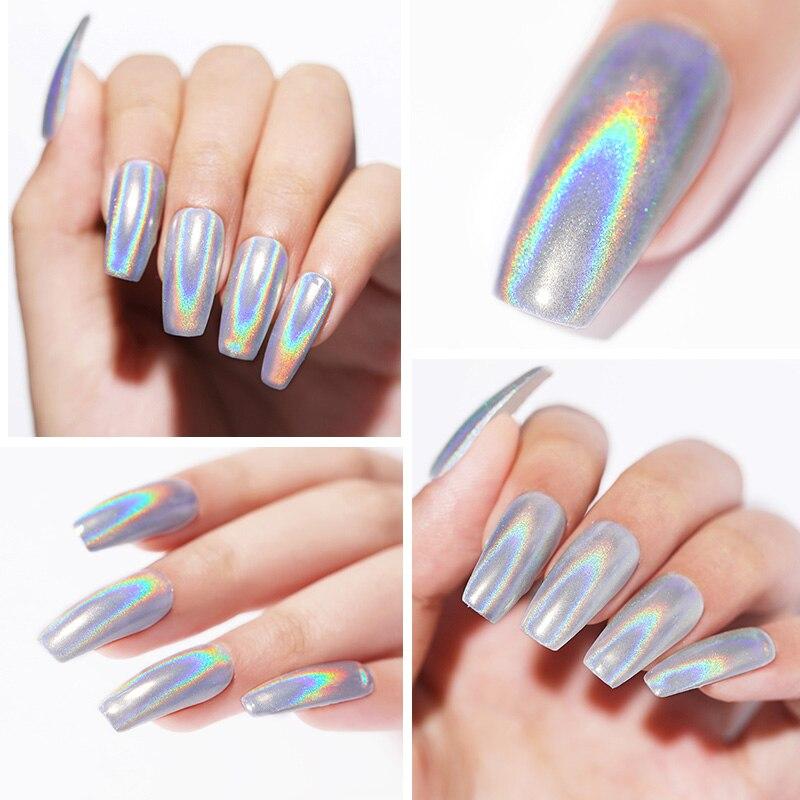 Extra Fine Holographic Chrome Nail Art Powder: Rainbow Holographic Nail Glitter Powder Mirror Pigment