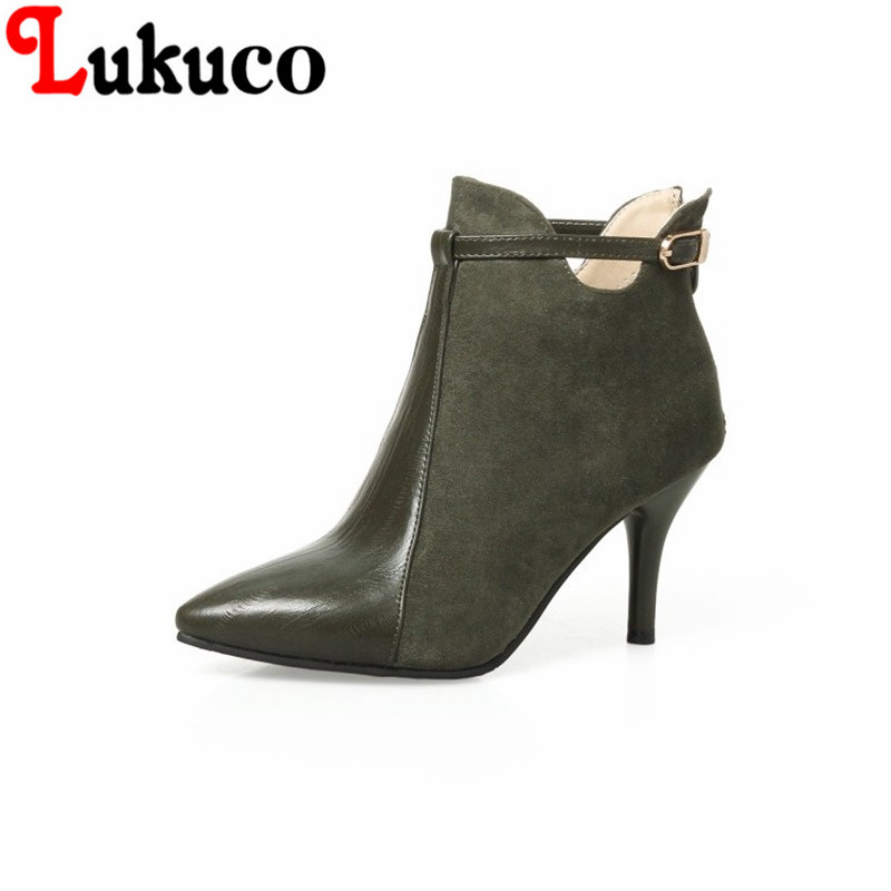 2018 New classic style Pointed Toe lady shoes size 34-46 Thin Heels Ankle Boots high quality low price super bargain women boots 2017 fashion style zipper decoration round toe shoes size 34 47 mid calf boots high quality low price super bargain women boots