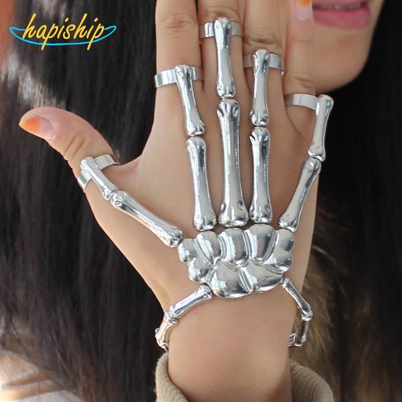 Hapiship 2017 Fashion Style Silver Halloween Handschedel Skelet Elastische armband + Ringen RCH Cool Gratis verzending