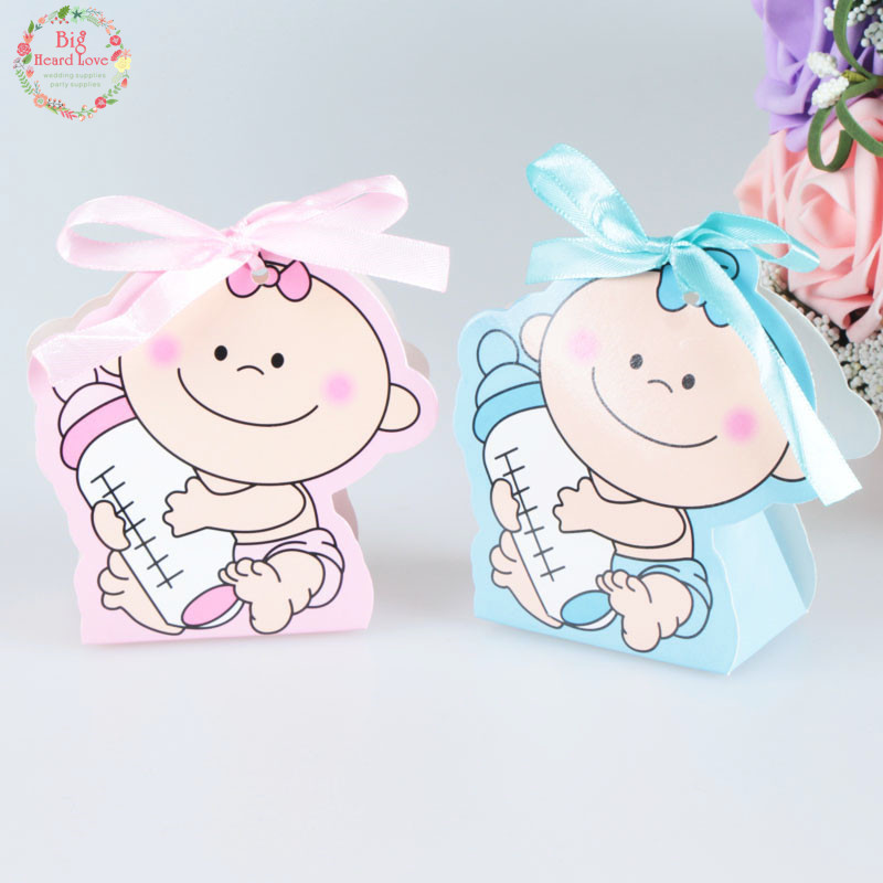 12pcs/set Baby Girl And Boy Paper Gift Box Party Baby Shower Candy Box Baby Feeding Bottle Birthday Party Decorations Kids