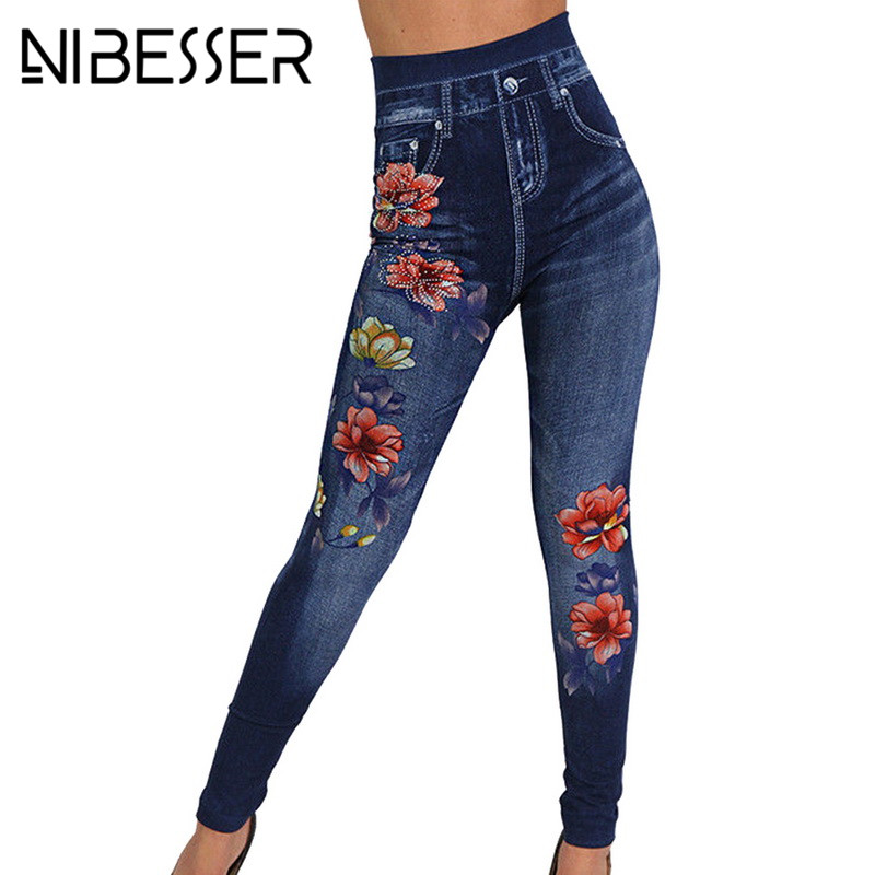 NIBESSER Women Floral Denim Jeans   Leggings   Women 2019 Fashion Rose Print Pencil Pants Plus Size Casual High Waist   Leggings