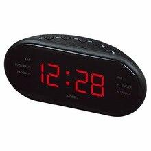 AM, FM радио Будильник цифровой светодиодный часы светящиеся цифры экран светящиеся часы Повтор электронный дома настольные часы