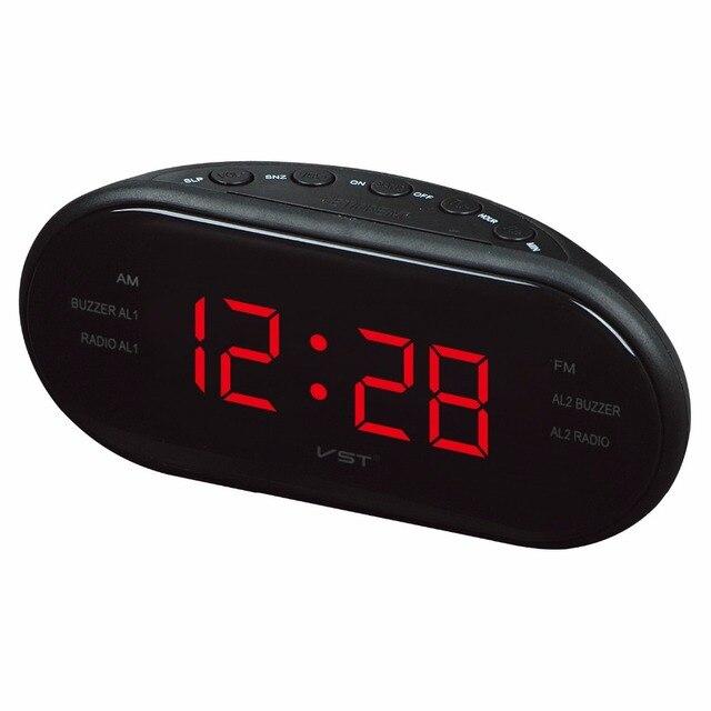d06f43bcc246 AM FM Radios reloj despertador digital LED Relojes de pared números  luminosos pantalla brillante Snooze reloj