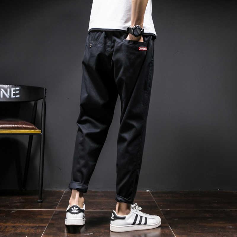 Новые модные однотонные брюки карго для мужчин фитнес повседневные мужские узкие брюки хип-хоп брюки на шнурке