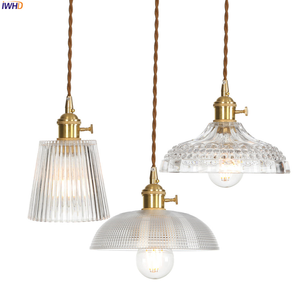 IWHD Copper Nordic Glass Pendant Light Fixtures Dinning ...
