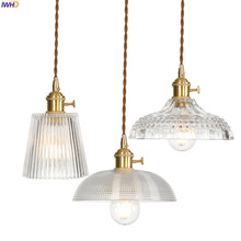 IWHD נחושת נורדי זכוכית תליון אור גופי אוכל סלון תליית מנורות LED תליון תאורה Lampara Colgante Lampen