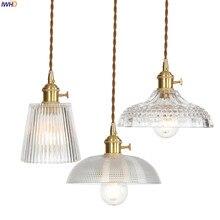 IWHD miedź Nordic szklany wisiorek oprawy oświetleniowe jadalnia salon lampy wiszące wiszące oświetlenie LED Lampara Colgante Lampen