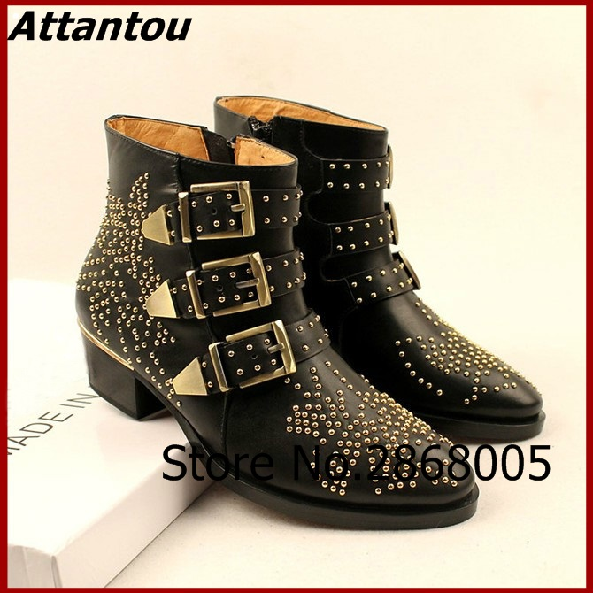 Stylish Buckle Strap Rivet Studs PU Leather/Velvet Ankle Boots Celebrities Same Fancy Women Chunky Heel Motorcycle Boots stylish pin buckle rivet perforated wavy edge light coffee belt for women