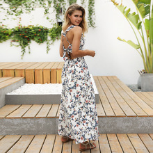 Summer new sexy long women dress halter floral printing deep V-neck casual N30D