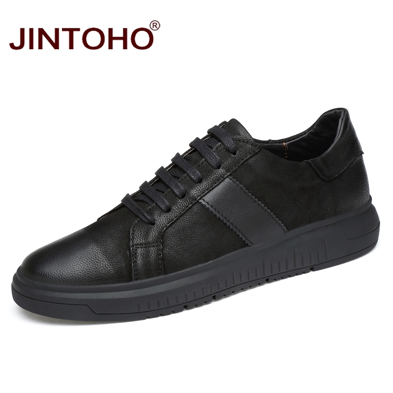 JINTOHO High Quality Genuine Leather Men Shoes Casual Fashion Male Shoes Black Leather Mens Moccasins Brand