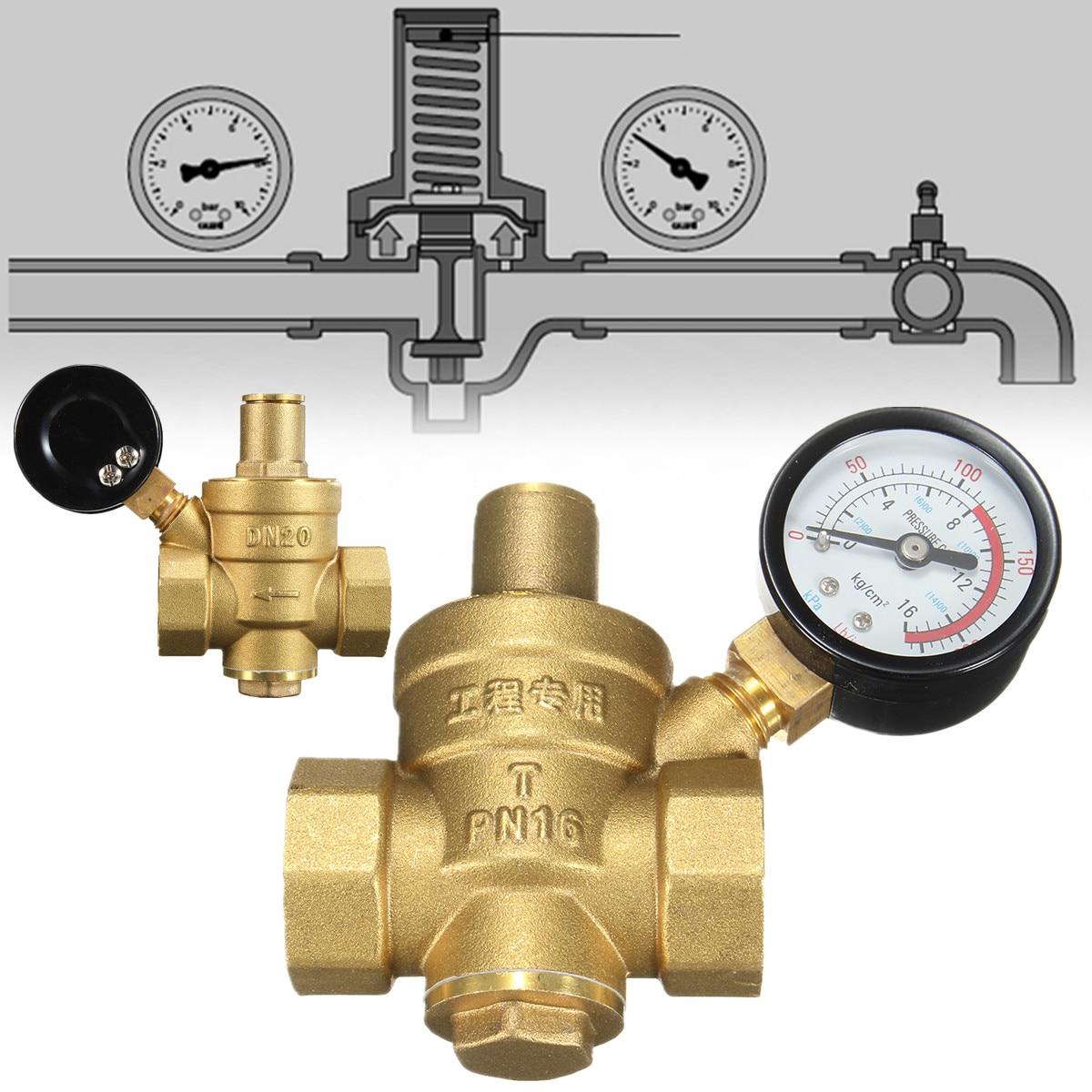 PN 1,6 Einstellbare Wasserdruck Regler Minderer Messing DN20 NPT 3/4