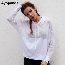 Ayopanda 2017 New Hollow Long Sleeve Hoodies Loose Mesh Running Yoga Top White Breathable Workout Sweater For Drop Shipping