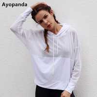 Ayopanda 2017 New Hollow Long Sleeve Hoodies Loose Mesh Running Yoga Top White Breathable Workout Sweater