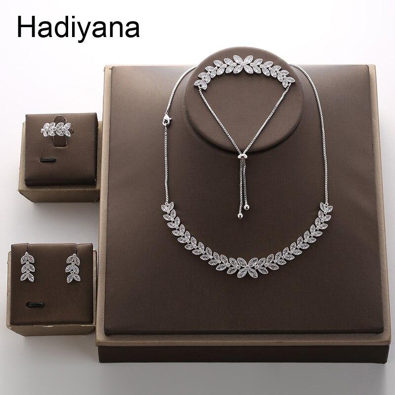 HADIYANA 2018 Fashion Eye Leaf Shape Zirconia Plant Choker Necklace Sets For Women New Trenday Wedding Party Jewelry Set TZ8076