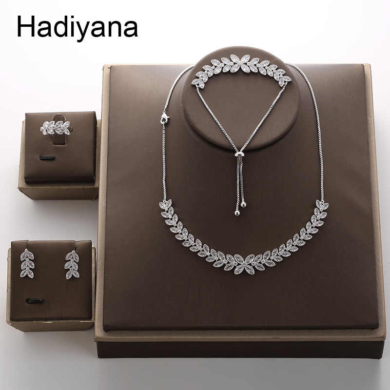 HADIYANA 2018 Fashion Eye Leaf Shape Zirconia Plant Choker Necklace Sets For Women New Trenday Wedding Party Jewelry Set TZ8076