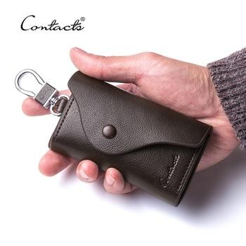 CONTACT'S Модный мужской кошелек из натуральной кожи от бренда для хранения разного вида ключей и брелков >> ContactS Official Store
