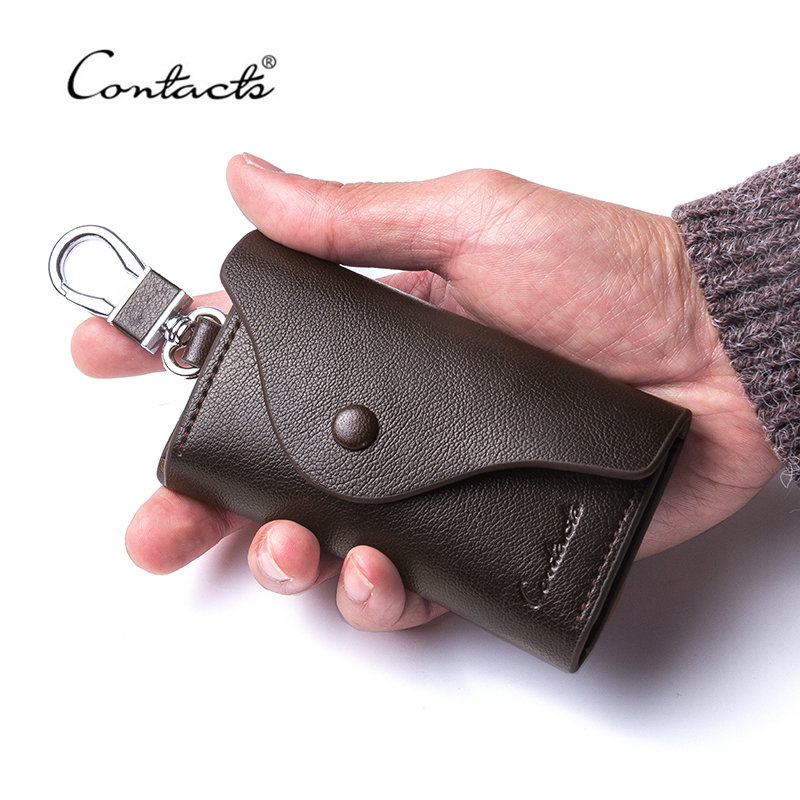 CONTACT'S Men's Genuine Leather Key Wallets Fashion Housekeeper Key Holders Male Keychain Casual Key Case For Men Key Rings