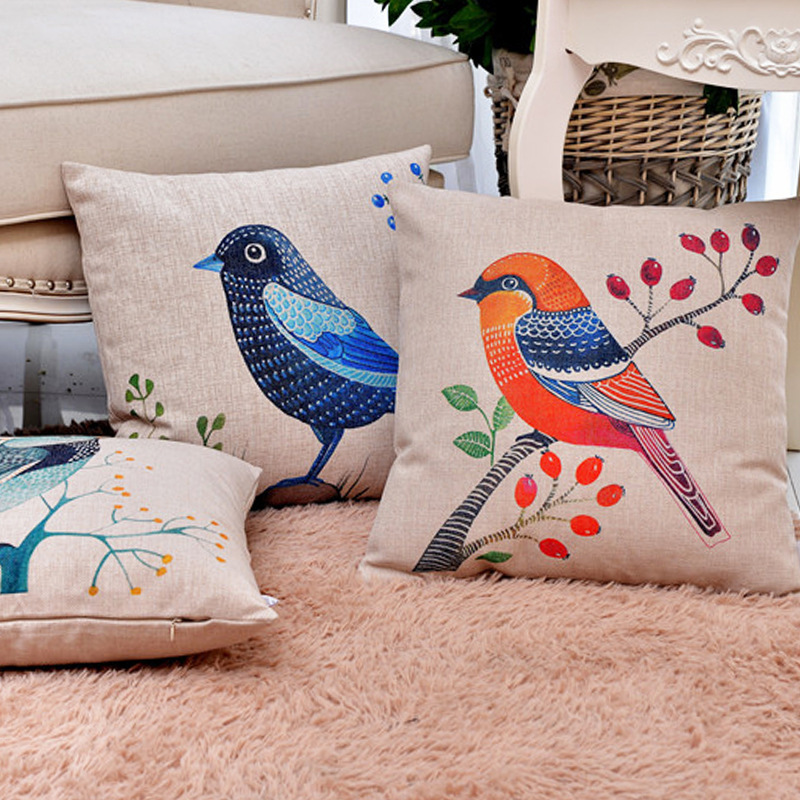 Flowers And Birds In Traditional Chinese Style Number Printing Cotton Cushion Embrace Pillow Case Sofa Automobile Back Cushion in Cushion Cover from Home Garden