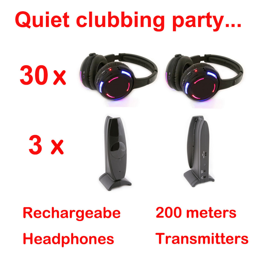 Silent Disco complete system black led wireless headphones - Quiet Clubbing Party Bundle (30 Headphones + 3 Transmitters)