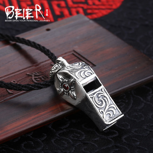 Beier new store 100% 925 thai silver sterling whistle pendant necklace punk fashion jewelry men/women  free give rope  A2178