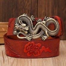 Fashion genuine leather men belt dragon buckle Article male jeans dress belt dragon pattern Leisure cwoskin strap waist belt цена