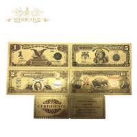 Billetes de 1, 2, 5 y 10 dólares bañados en oro para decoración del hogar, 1889 y 1901