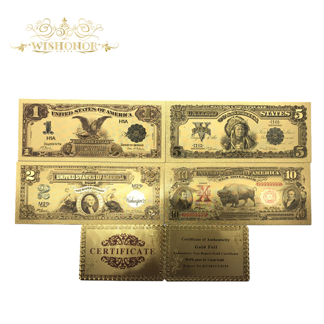 US $5 18 27% OFF|5pcs/lot Value Collectible 1889&1901 Year Colored America  Banknotes 1 2 5 10 Dollar Banknote in Gold Plated For Home Decoration-in
