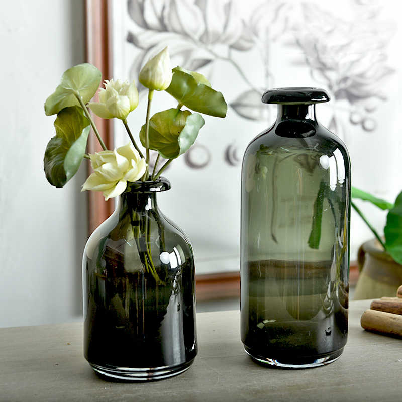 Simple Glass Vase Nordic Style Retro Smoked Dark Vase Decoration
