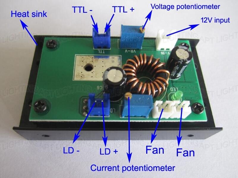 ФОТО DIY 532nm laser driver board  405nm 450nm 200mW 500mw 1W/2W/2.5W/5W blue laser module power supplier driver 12V/TTL/heat sink