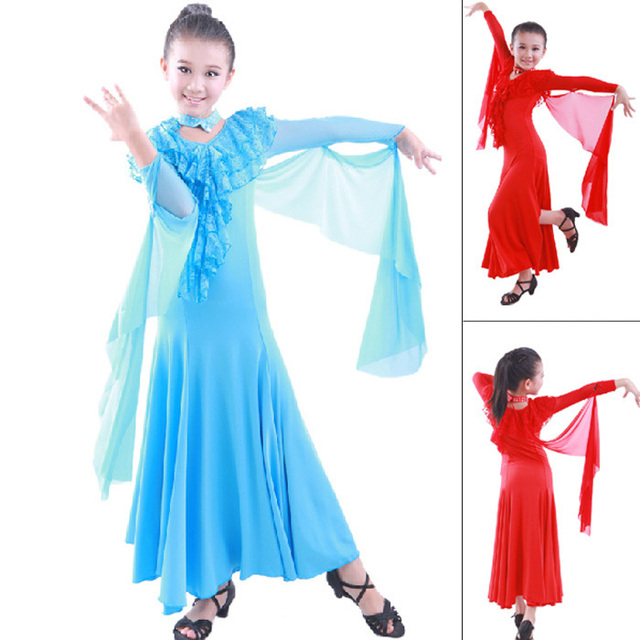 d1e28a79479d Children Dress Ballroom Dancing Girl Modern Dance Dress Kids Viennese Waltz  Dress Red/Lake Blue Waltz/Tango Stage Sexy Dress