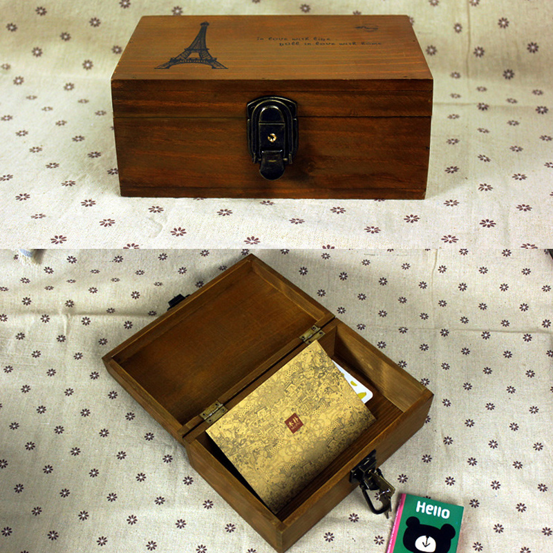Online Shop Exquisite Jewelry Box With Lock And Key Secret Keeping Small Items Storage Wooden Retro Style Rectangle