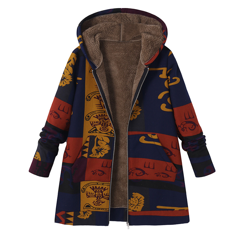 2019 Women Retro Hooded Ethnic Printed Faux Fluffy Thin Coat   Jackets   Winter Autumn Long Sleeve   Basic   Outerwear Plus Size