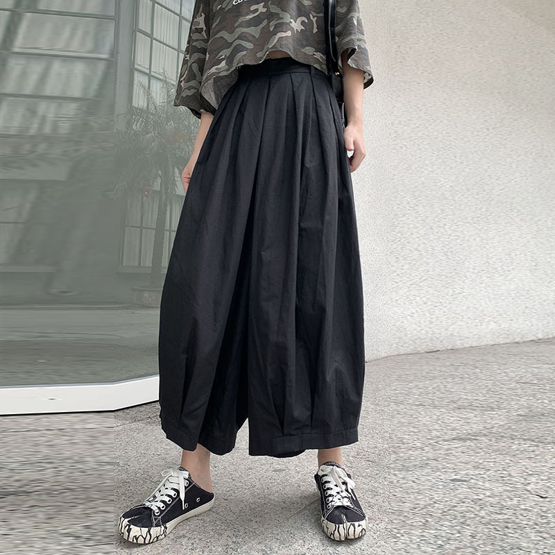 LANMREM 2019 New Summer Fashion Women Clothes Thin Styles Linen Elastic Pleated Loose   Wide     Legs     Pants   Femal Trousers WH31001