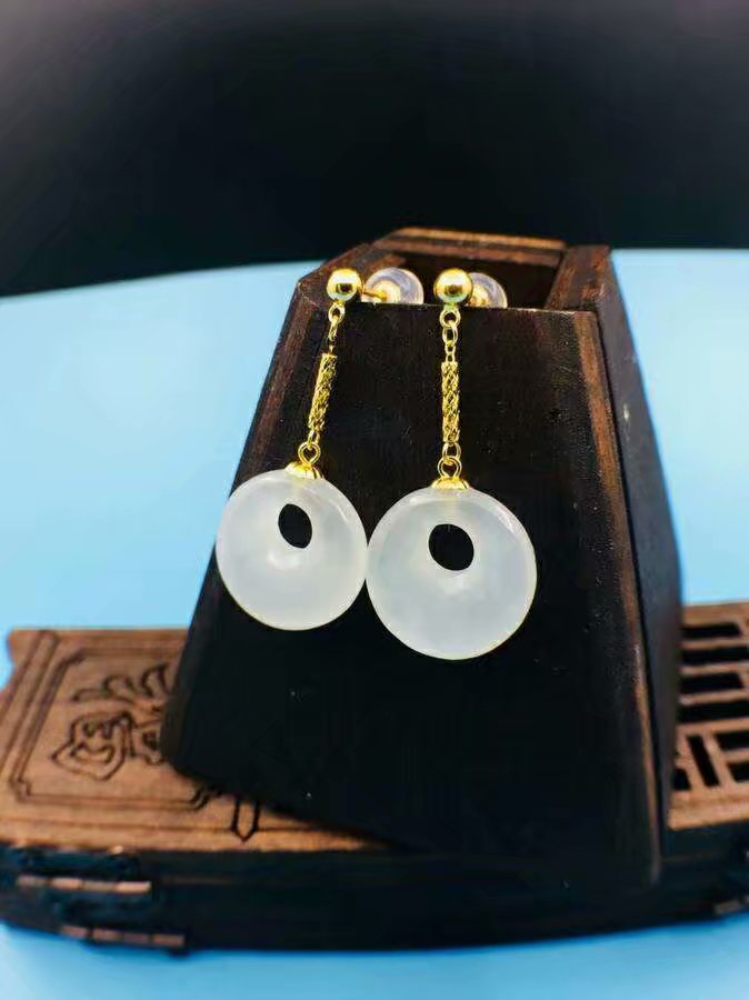 SHILOVEM 18k yellow gold real Natural white Jasper drop earring fine Jewelry women wedding party gift 13 13mm yze131309hy in Earrings from Jewelry Accessories
